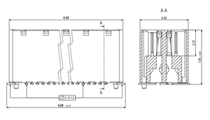 Dimensions Zero8 socket straight unshielded 12 pins