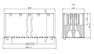 Dimensions Zero8 socket straight unshielded 80 pins