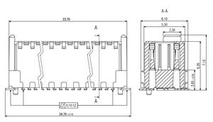 Dimensions Zero8 plug straight unshielded 52 pins